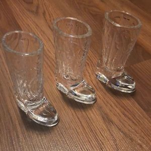 Set of 3 glass cowboy boots shooter glasses